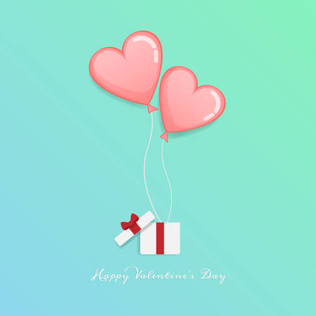 vector of love and Happy Valentines day. open gift box with heart float up to sky with message Happy Valentine's day text. Valentine greeting card Stock Illustratie