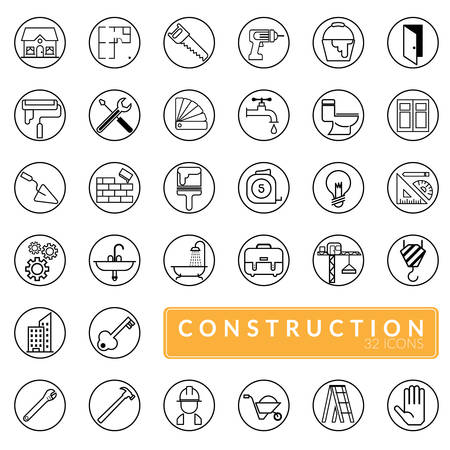 vector of outline construction icons set. building, construction, home repair and renovation tools Illustration