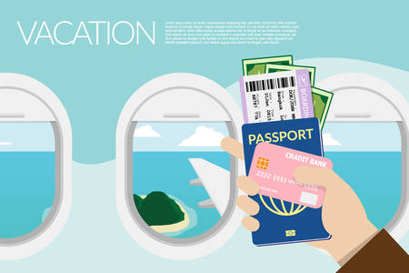 hand holding passport, boarding pass , pocket money and credit card with island view outside the window on the plane at background. vector illustration flat design