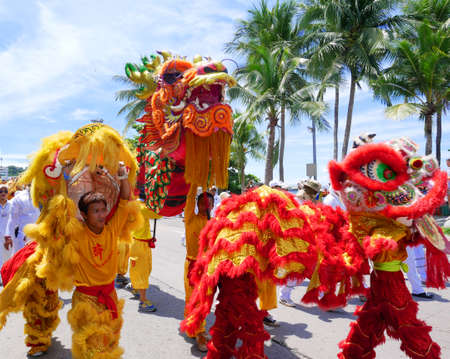 The Chinese gods parade in Pattaya vegetarian festival on September 30,2016 in Chonburi province Thailand. They walk around Pattaya beach. 報道画像