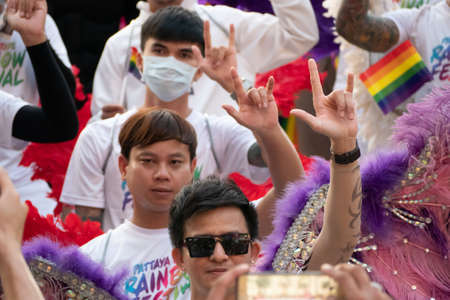 PATTAYA, THAILAND - FEBRUARY 9, 2019: LGBT oriented people take part in Pattaya Pride Rainbow Festival Parade, in Pattaya, Thailand on February 9, 2019