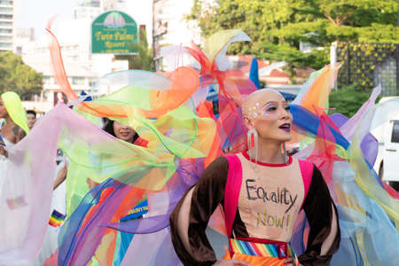 PATTAYA, THAILAND - FEBRUARY 9, 2019: LGBT oriented people wear cloth write equality now take part in Pattaya Pride Rainbow Festival Parade, in Pattaya, Thailand on February 9, 2019 報道画像