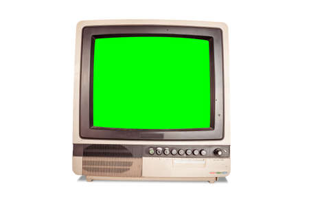 front view of old retro home TV receiver with blank green screen isolated on white background with clipping path