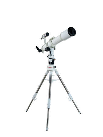 telescope on a tripod isolated on white background with clipping path Stok Fotoğraf