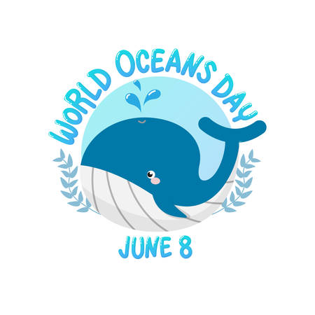 vector of logo for world ocean day with whale spray water in circle.  world ocean day on June 8 for celebration dedicated to help protect, and conserve world oceans, water, ecosystem