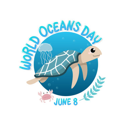 vector of logo for world ocean day with turtle swim in the sea with jellyfish and crab in circle.  world ocean day on June 8 for celebration dedicated to help protect, and conserve world oceans, water Illustration