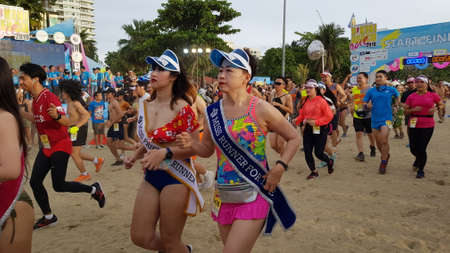 PATTAYA, THAILAND - JUNE 8, 2019: a part of runner , participant of Pattaya Bikini Run 2019 in Pattaya, Thailand on JUNE 8, 2019 Stockfoto - 137009731