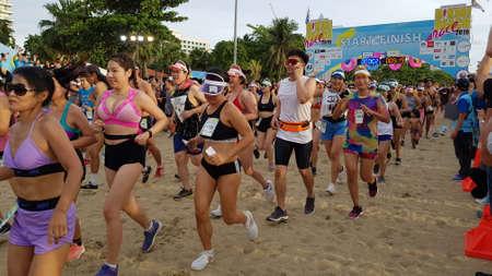 PATTAYA, THAILAND - JUNE 8, 2019: a part of runner , participant of Pattaya Bikini Run 2019 in Pattaya, Thailand on JUNE 8, 2019 Stockfoto - 137009732