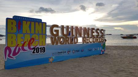 PATTAYA, THAILAND - JUNE 8, 2019: sign of Pattaya Bikini Beach race 2019 Guinness World Record on sandy beach in Pattaya, Thailand on JUNE 8, 2019