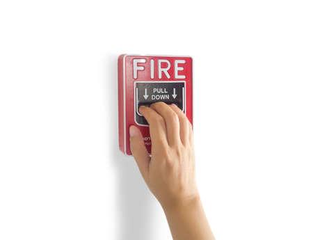 Dispositivo de notificación de alarma contra incendios, interruptor manual del sistema de alarma contra incendios en la pared para hacer un ruido fuerte que advierte de una alarma contra incendios Foto de archivo