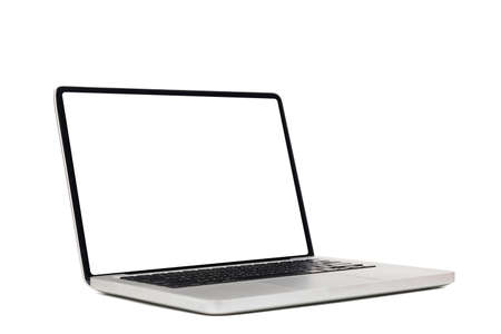 laptop computer mock up with empty blank white screen isolated on white background with clipping path, side view. modern computer technology concept
