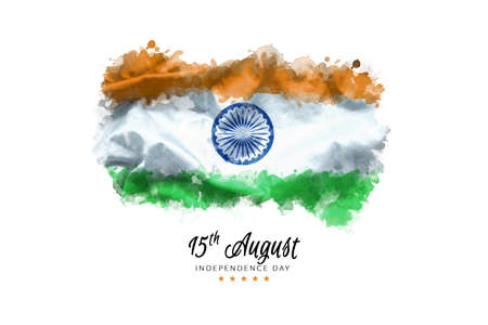 celebrating India Independence Day greeting card with Indian waving flag grunge by water color paint background. abstract background, vintage Poster, banner or flyer design for 15th of August