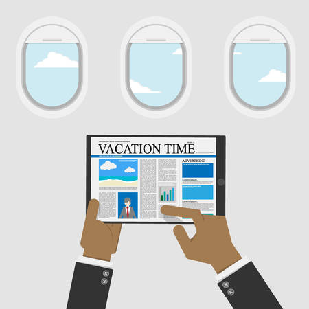 businessman use digital tablet for reading content about vacation time for travel information,plane window with sky view at background. vector illustration flat design 일러스트