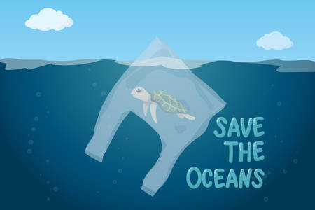 plastic pollution in ocean environmental problem concept.  poor turtle swim inside plastic bag floating in the ocean Ilustração