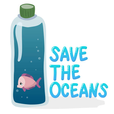 plastic pollution in ocean environmental problem concept.  poor fish swim inside plastic bottle with text save the oceans  イラスト・ベクター素材