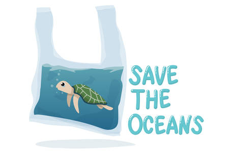 plastic pollution in ocean environmental problem concept.  poor turtle swim inside plastic bag with text save the oceans Ilustração