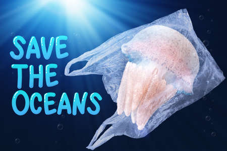 plastic pollution in ocean environmental problem concept.  jellyfish swim inside plastic bag floating in the ocean with text save the oceans