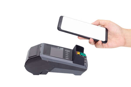 cashless Society, customer paying bill through smartphone using NFC technology at point of sale terminal with clipping path. contactless by mobile digital wallet technology concept Reklamní fotografie