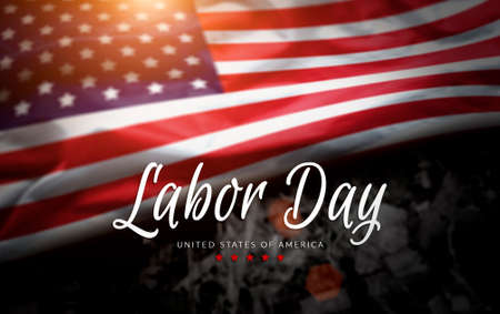 USA Labor Day greeting card with american flag background Reklamní fotografie