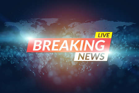 background screen saver on breaking news. Breaking news live template on digital world map background.