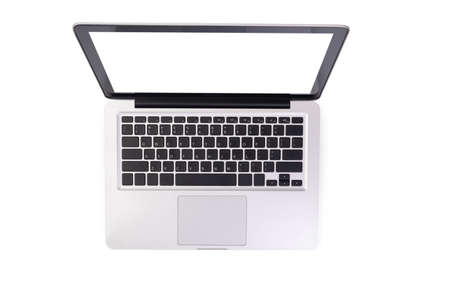 laptop computer mock up with empty blank white screen isolated on white background with clipping path, top view. modern computer technology concept Reklamní fotografie