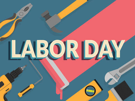 labor day banner. design template. vector illustration. text labor day decorate with repair tools for background
