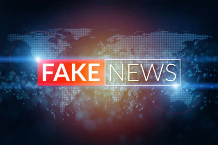 fake news live screen template on digital world map background. Reklamní fotografie