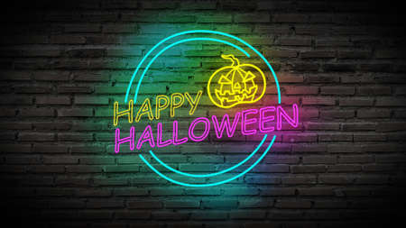 colorful Happy Halloween bright light neon sign for party with scary pumpkin on retro brick wall background.  Banco de Imagens