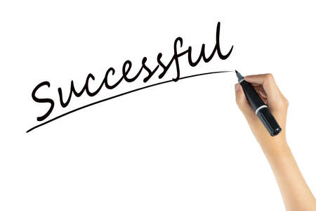 hand writing word successful with black color marker pen isolated on white background. business target to success concept Banco de Imagens