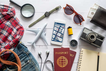 flat lay of travel item accessory, essential vacation items accessory. travel concept background