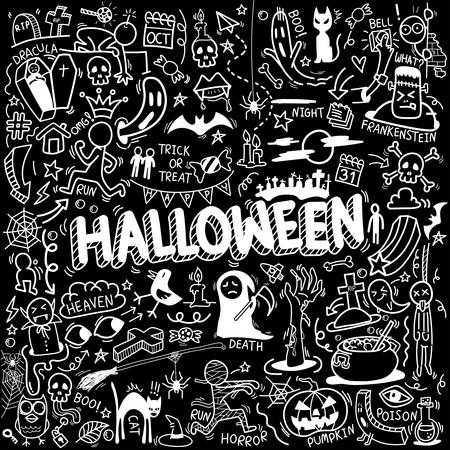 vector of hand drawn doodle cartoon set of objects and symbols on the Halloween theme Ilustração
