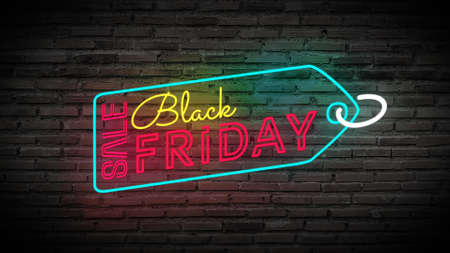 Black Friday label sale tag shiny neon lamps sign glow on black brick wall. colorful sign board for Black Friday sale promotion and advertising Banco de Imagens