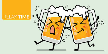 vector of two glass of beer with funny face for drunk emotion with text relax time