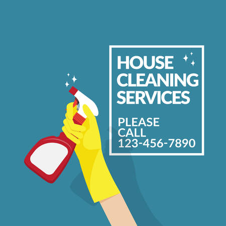 vector of hand with yellow rubber glove holding cleaning spray detergent isolated on blue background with copy space for text or logo for cleaning service company Illustration