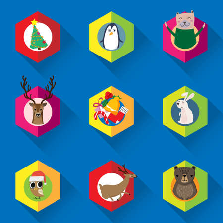 vector set of Christmas ornament, Christmas tree and cute cartoon animal character for winter seasonal decorated
