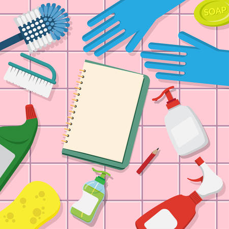 vector set of household supplies cleaning product , tools of house cleaning on pink tile background with blank page open book for copy space