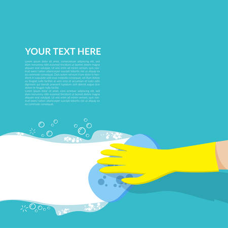 vector of hand with yellow rubber glove holding blue sponge cleaning with white bubble detergent isolated on blue background with copy space for text or logo Stock Illustratie