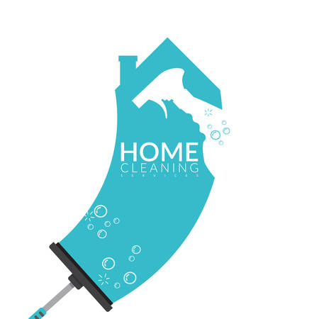 vector of squeegee scraping on house shape in blue color with spray bottle and bubble foam overlay on it. home cleaning service business banner template Stock Illustratie