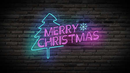 Merry Christmas shiny neon lamps sign glow on black brick wall. colorful sign board with text Merry Christmas and Christmas tree for party decoration Stockfoto