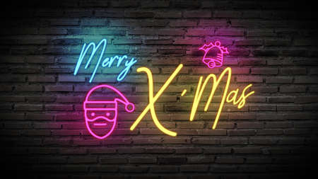 Merry XMas shiny neon lamps sign glow on black brick wall. colorful sign board with text Merry XMas ,cartoon Santa Claus and small bell for party decoration Stockfoto