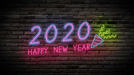 Happy new year shiny neon fluorescence lamps sign glow on black brick wall. colorful sign board with colorful text Happy new year 2020 and party popper for party decoration Stockfoto
