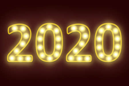 light bulb flashing in number 2020 for happy new year 2020 new year eve celebration background