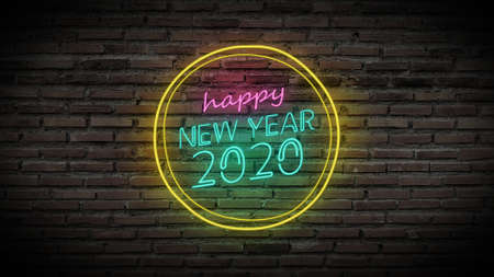 Happy new year shiny neon lamps sign glow on black brick wall. colorful sign board with colorful glowing text Happy new year 2020 in circle for party decoration Stockfoto