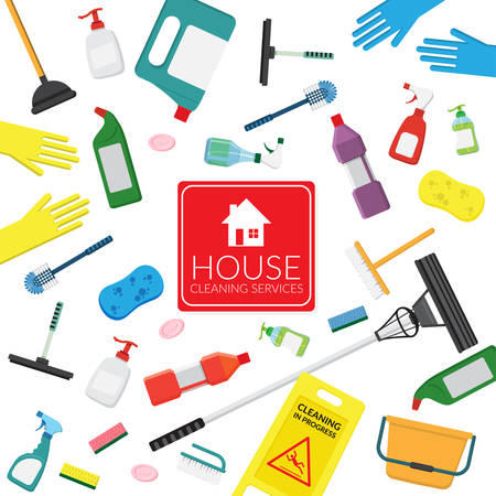 vector set of household supplies cleaning product , tools of house cleaning isolated on white background. template with copy space for text and logo for cleaning service company