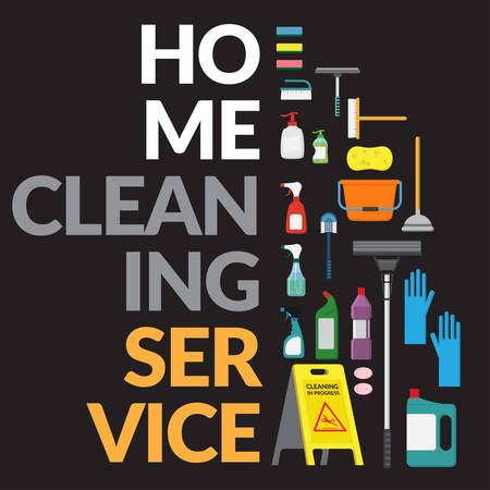vector set of household supplies cleaning product , tools of house cleaning isolated on black background. template with copy space for text and logo for cleaning service company