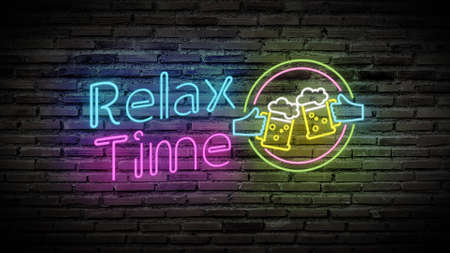 relax time shiny neon lamps glow on black brick wall. colorful sign board with text relax time and glass of beer for party decoration