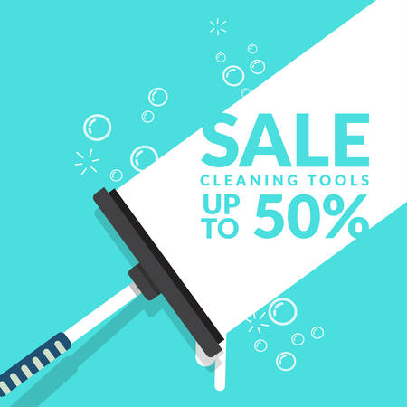 vector of squeegee scraping on blue background with bubble foam and text for advertisement of cleaning tools sales. cleaning product , equipment tools of house cleaning business banner template
