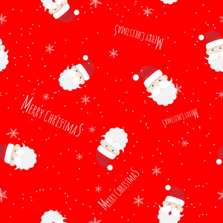 vector seamless cute Santa Claus cartoon with text Merry Christmas pattern on red background for Christmas wallpaper background