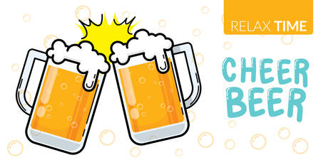 vector of two glass of beer clinking for celebration party with text relax time, cheer beer Stock Illustratie