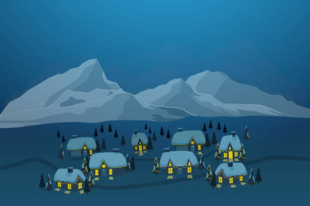 vector illustration of old town village with snow on rooftop and iceberg at background in winter season  Stock Illustratie
